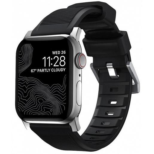 Ремешок Nomad Rugged Strap V.2 для Apple Watch 44/42 mm. Материал: флорэластомер. Цвет ремешка: черный. Цвет застёжки: серебряный.