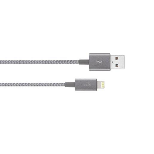 Кабель Moshi Integra Lightning на USB-A. Покрытие кабеля сделано из кевлара. Длина 1,2 м. Цвет серый.