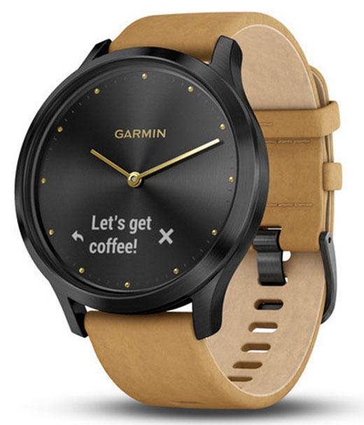 Умные часы Garmin Vivomove HR Premium 127-204 mm 010-01850-00 (Onyx Black/Tan Suede)