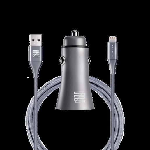 Автомобильное зарядное устройство LENZZA Razzo Metallic Car Charger. Два порта USB 5В, 2,1А. В комплекте: кевларовый кабель Lightning to USB Cable. Цвет графит.