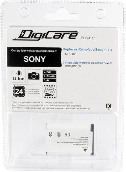 Аккумулятор для фотоаппарата DigiCare PLS-BX1 / NP-BX1 для DSC-RX1, RX100