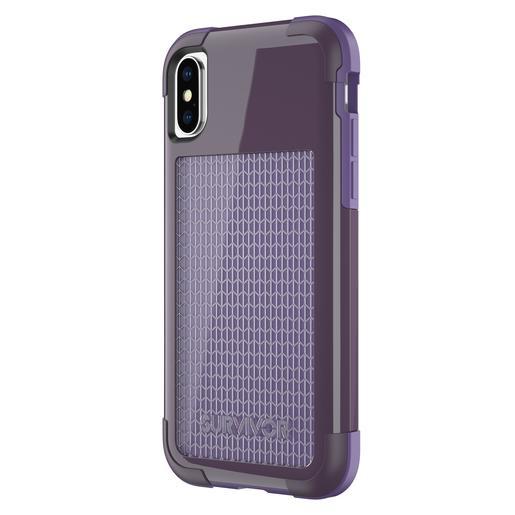 Защитный чехол Griffin Survivor Fit для iPhone X. Материал прорезиненный пластик. Цвет фиолетовый.
