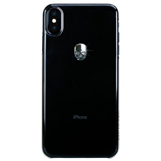 Чехол Bling My Thing для iPhone XS Max, с кристаллами Swarovski. Материал пластик. Коллекция Treasure. Дизайн Silver Skull. Цвет прозрачный.