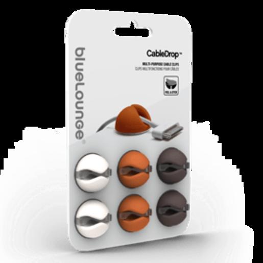 Клипсы-держатели для проводов Bluelounge CableDrop. Три цвета: белого, оранжевого, коричневого
