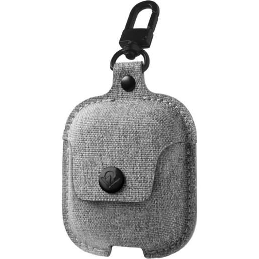 Чехол для наушников Apple AirPods зарядного кейса AirPods. Материал канвас. Цвет светло-серый.