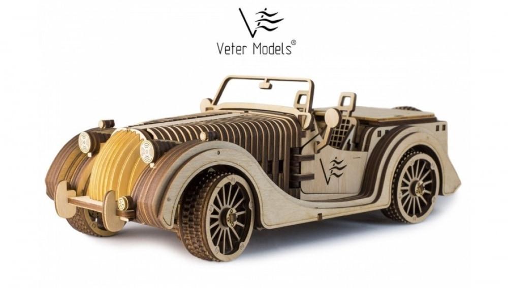 Деревянный механический 3D конструктор Roadster VM-01