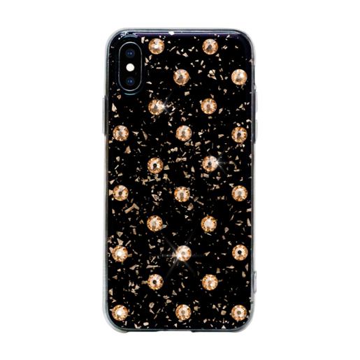 Чехол Bling My Thing для iPhone XS/X, с кристаллами Swarovski. Материал пластик. Коллекция Extravaganza. Дизайн Polka Dots Gold. Цвет черный.