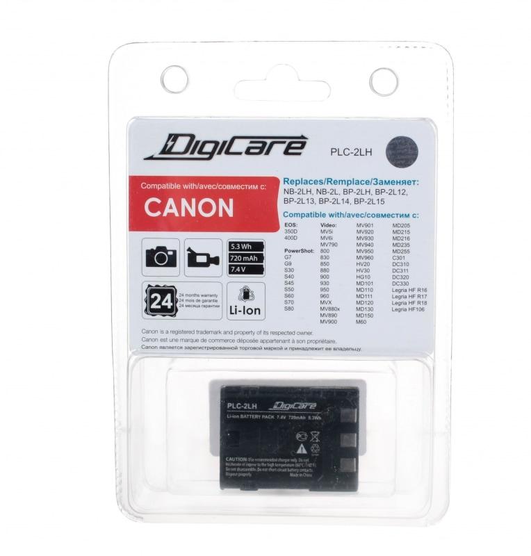DigiCare PLC-2LH / NB-2LH / EOS350D, 400D, PowerShot G7, G9, S30, S40, S45, S50, S60, S70, S80