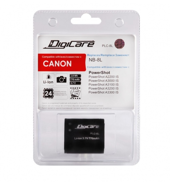 DigiCare PLC-8L / NB-8L / PowerShot A2200 IS, A3200 IS, A3300 IS, A3000 IS, A3100 IS