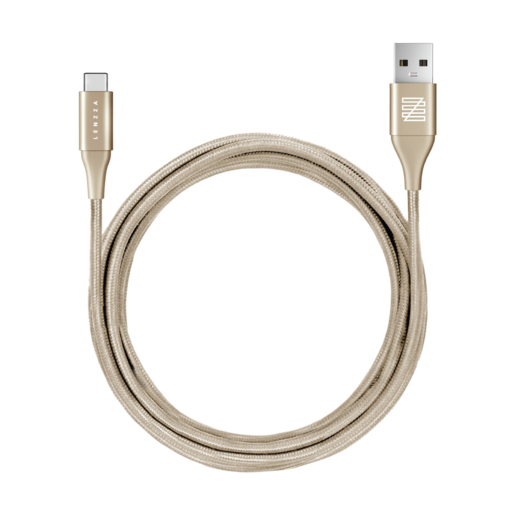 LENZZA Nylon Braided Кевларовый кабель Type-C to USB, длина 2 м. Цвет золотой.