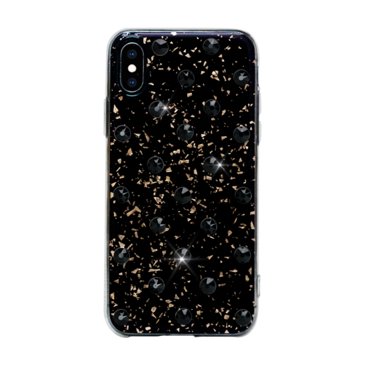 Чехол Bling My Thing для iPhone XS/X, с кристаллами Swarovski. Материал пластик. Коллекция Extravaganza. Дизайн Polka Dots Jet. Цвет черный.