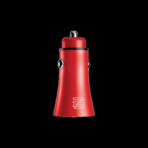 Автомобильное зарядное устройство LENZZA Razzo Metallic Car Charger. Два порта USB 5В, 2,1А. Цвет красный.