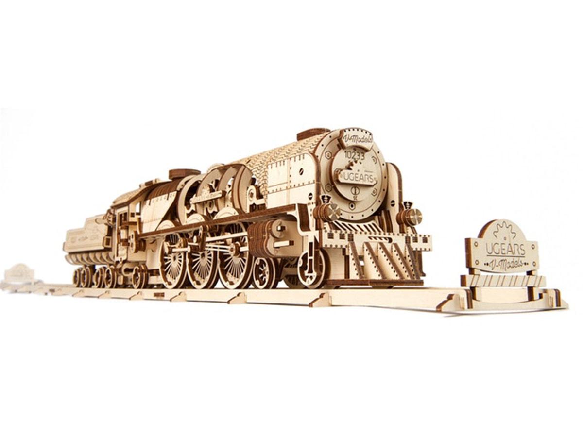 3D-пазл UGears Паровоз V-Экспресс (V-Express Steam Train with Tender)