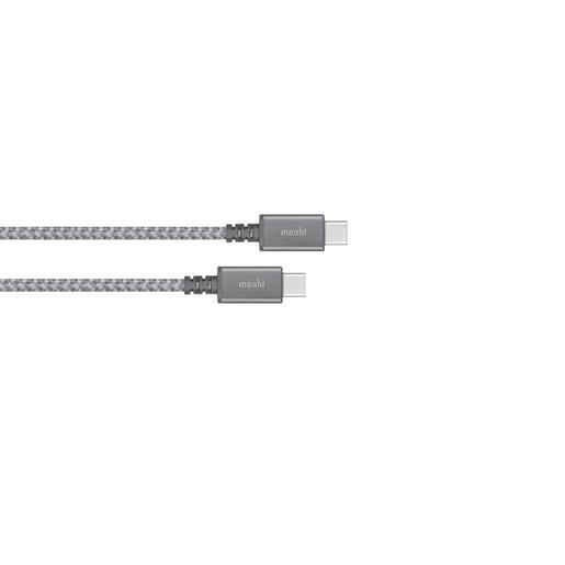 Кабель Moshi Integra USB-C to USB-C. Покрытие кабеля сделано из кевлара. Длина 1,2 м. Цвет серый.