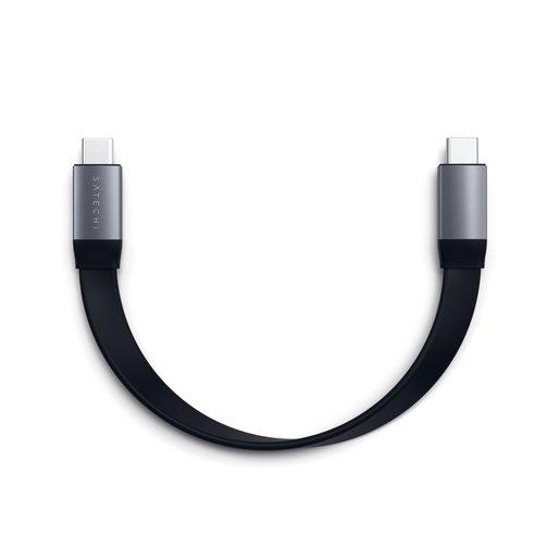 Кабель Satechi Flat USB-C to USB-C, длина 22,8 см. Поддержка мощности 100Вт. Цвет черный.