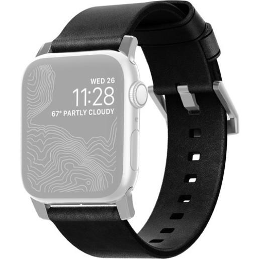 Ремешок Nomad Modern Strap для Apple Watch 44mm/42mm. Материал кожа натуральная. Цвет ремешок черный, застежка серебристый.
