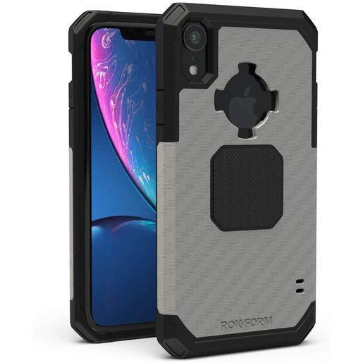 Противоударный чехол-накладка Rokform Rugged Case для iPhone XR со встроенным магнитом. Материал: поликарбонат. Цвет: серый. Rokform Rugged Case for iPhone XR - Gunmetal