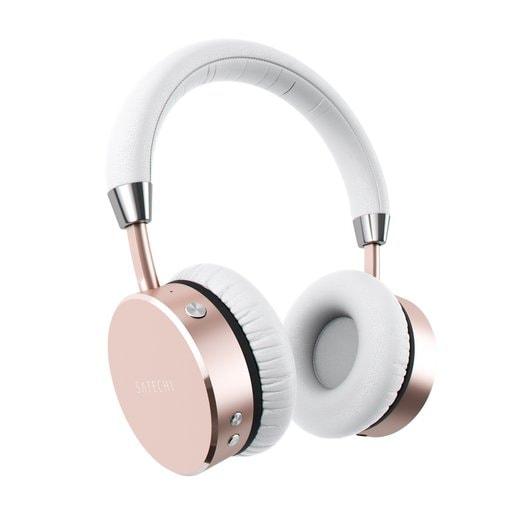 Беспроводные накладные наушники Satechi Bluetooth Aluminum Wireless Headphones. Цвет розовое золото.