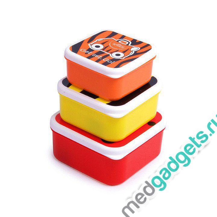 Ланч бокс 3 в 1, красный, оранжевый, желтый Trunki