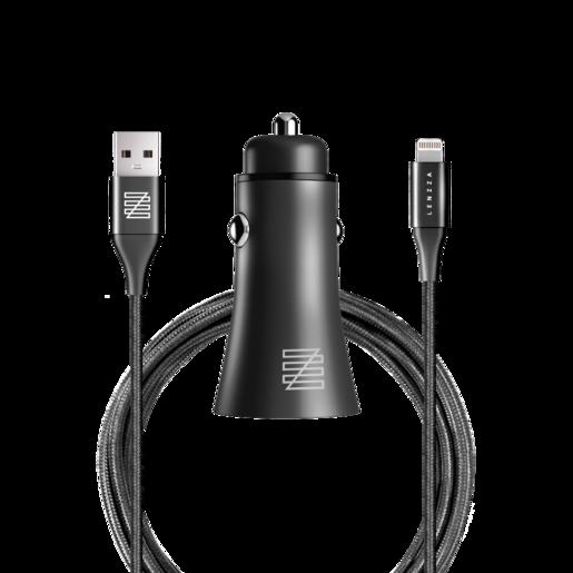Автомобильное зарядное устройство LENZZA Razzo Metallic Car Charger. Два порта USB 5В, 2,1А. В комплекте: кевларовый кабель Lightning to USB Cable. Цвет черный.