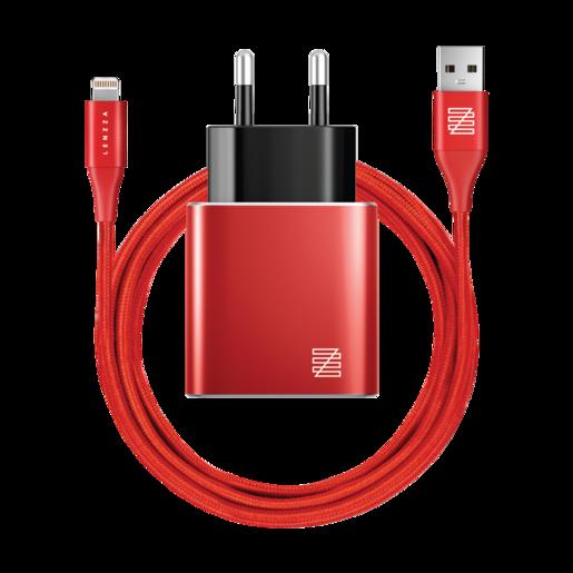 Сетевое зарядное устройство LENZZA Piazza Metallic Wall Charger. Два порта USB 5В, 2,1А. В комплекте: кевларовый кабель Lightning to USB Cable. Цвет красный.