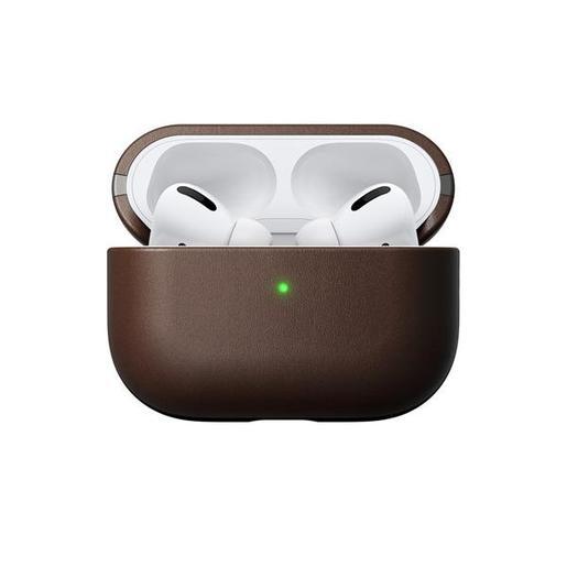 Чехол Nomad Rugged Case для зарядного кейса наушников Apple Airpods Pro. Материал кожа натуральная. Цвет коричневый.