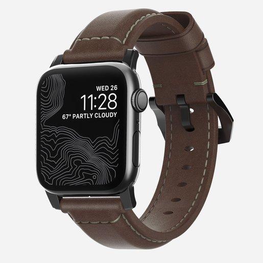 Ремешок Nomad Traditional Strap для Apple Watch 44mm/42mm. Материал кожа натуральная. Цвет ремешок темно-коричневый, застежка черный.