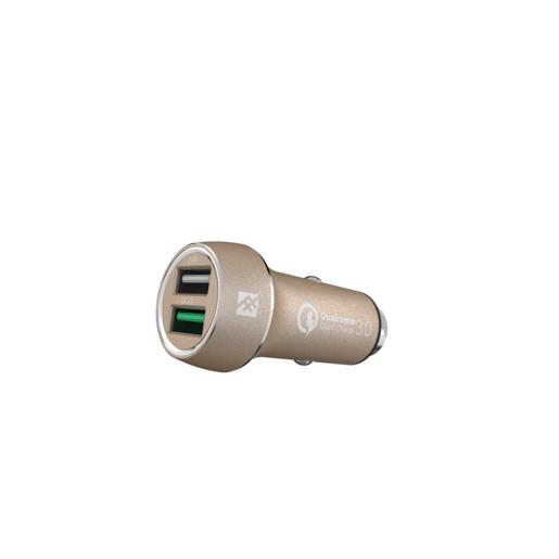 Автомобильное зарядное устройство iFrogz Unique Sync Dual для мобильных устройств. Два USB порта 2.4А каждый. Технология QuickCharge. Цвет золотой.
