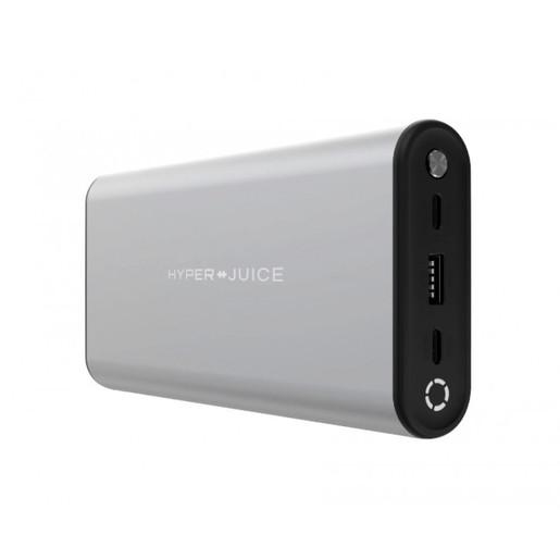 Портативный аккумулятор HyperJuice 130W USB-C Battery. Емкость 27000 мАч. Порты 1 x USB-C PD 3.0 100W, 1 x USB-C PD 3.0 60W, USB-A QC 3.0 18W. Цвет серебристый.