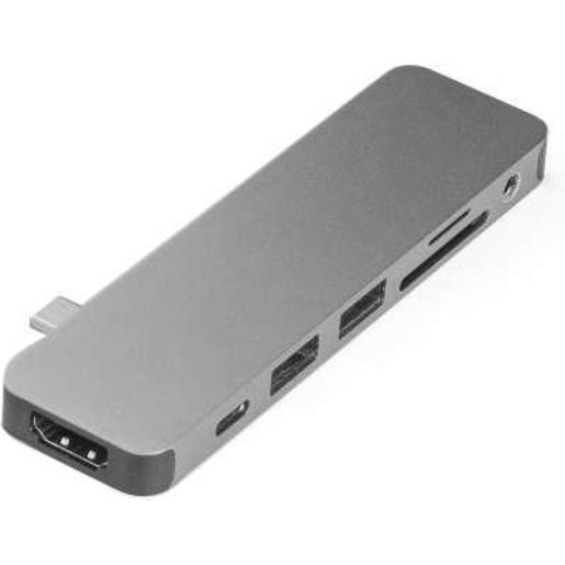 USB-хаб Hyper HyperDrive SOLO 7-in-1 Hub для Macbook и других устройств с портом Type-C. Порты: 4K/30Hz HDMI, USB-C Power Delivery, 2 x USB-A, Micro SD, SD, 3.5mm AUX. Цвет серый космос.