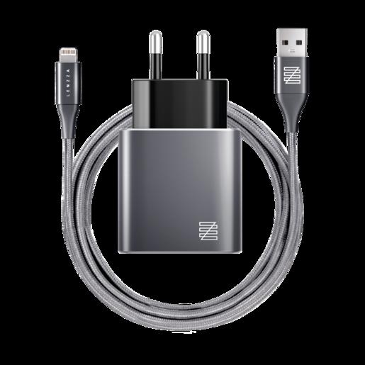 Сетевое зарядное устройство LENZZA Piazza Metallic Wall Charger. Два порта USB 5В, 2,1А. В комплекте: кевларовый кабель Lightning to USB Cable. Цвет графит.