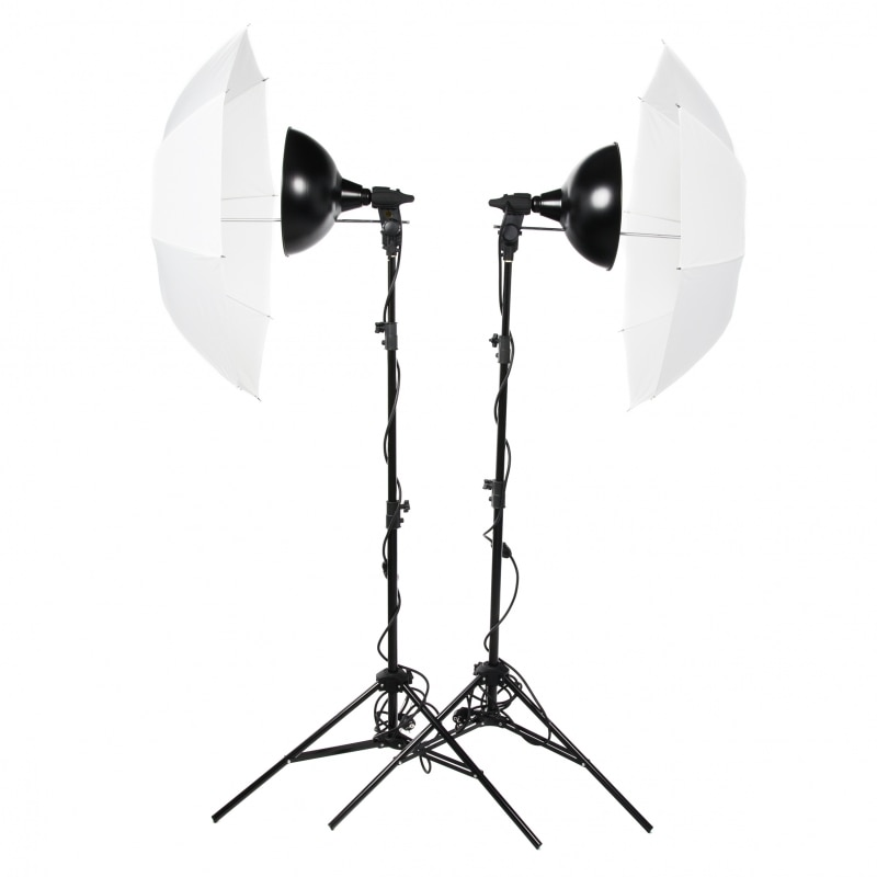 Комплект постоянного света Lumifor MACRO-1000-2UU KIT, 2 галогенные лампы по 500 Вт, 2 Рефлектора, 2 Зонта, 2 стойки