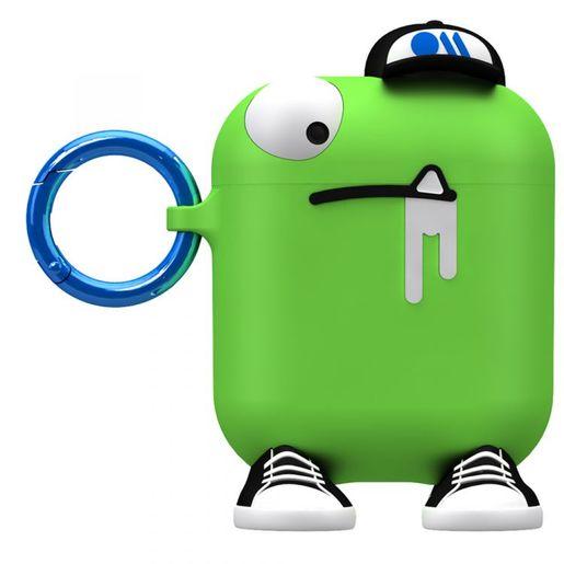 Чехол Case-Mate AirPods - CreaturePods - Chuck The Cool Guy для футляра с возможностью беспроводной зарядки наушников AirPods 1 и 2. Цвет зеленый.