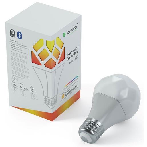 Умная лампочка Nanoleaf Essentials Smart A19 Bulb. Световой поток: 800 лм. Световая температура: 2700K-6500K. Питание от сети: 120В-240В. Цоколь: E27.