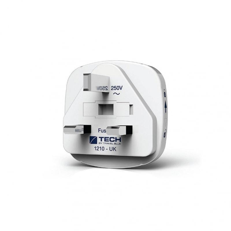 Сетевой адаптер-переходник Travel Blue EU-to-UK (948) с USB-портом для зарядки, цвет белый