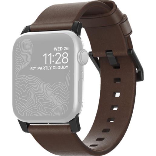Ремешок Nomad Modern Strap для Apple Watch 44mm/42mm. Материал кожа натуральная. Цвет ремешок темно-коричневый, застежка черный.