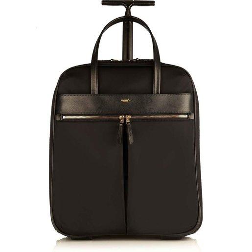 """Сумка для путешествий на колесах Knomo Burlington для ноутбука до 15"""" дюймов. Материал нейлон, кожа натуральная. Цвет черный."""