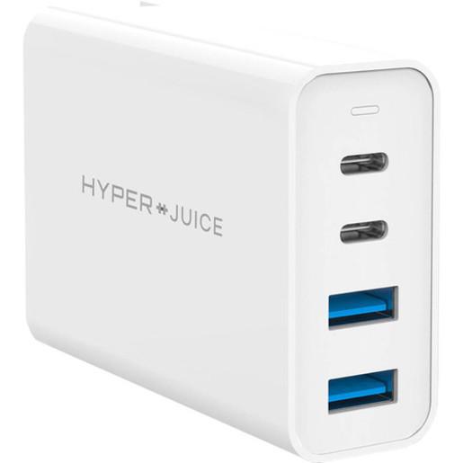 Зарядное устройство со съемными вилками HyperJuice 100W GaN. Порты 2xUSB-C/2xUSB3.0 Цвет: Белый Hyperjuice 100W GaN charger with 2xUSB-C/2xUSB3.0 incl travel plugs- White