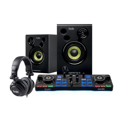 Набор начинающего ди-джея Hercules DJStarter Kit. В комплект входит: DJ контроллер Hercules DJ Control Starlight, акустические колонки Hercules DJMonitor 32, проводные мониторные наушники HDP DJ M40.2.