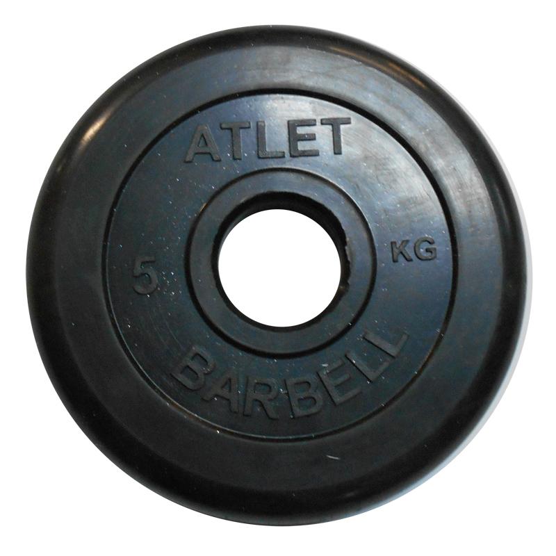 Диски обрезиненные, чёрного цвета, 51 мм, Atlet MB-AtletB51-5