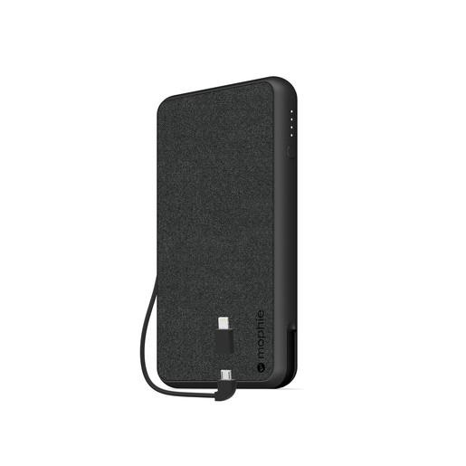 Mophie Powerstation Plus XL Внешний портативный аккумулятор. Емкость аккумулятора 10000 МаЧ. Кабель 2в1 Micro USB и Lightning. Цвет черный.