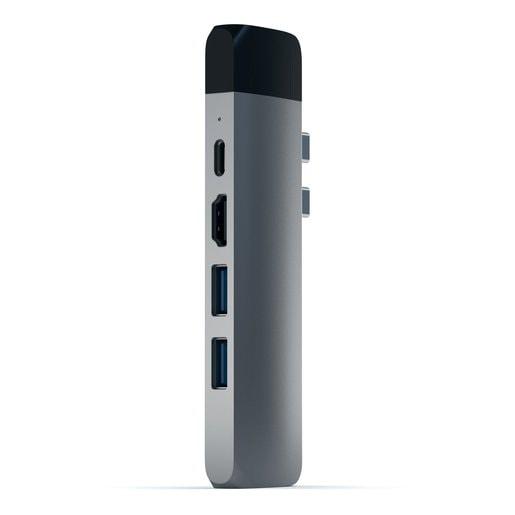 "USB-хаб Satechi Aluminum Pro Hub with Ethernet для 2016/2017 MacBook Pro 13"" и 15"". Порты: HDMI 4K, USB-C Power Delivery (87W), micro SD, 2 x USB 3.0, Gigabit Ethernet. Цвет серый космос."