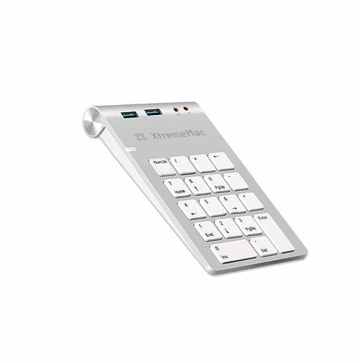 Цифровой блок Numpad клавиатуры XtremeMac Mechanical Numpad USB 3.0 + AUX. Подключение по USB. Дополнительные порты 2xUSB 3.0, AUX, Microphone. Цвет серебряный.