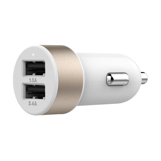 Автомобильное зарядное устройство LAB.C Dual USB Car Charger. Имеет два USB разъема. Сила тока 1А и 2,4А. Цвет: золотой.