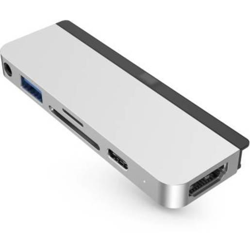 USB хаб Hyper HyperDrive 6-in-1 USB-C Hub для iPad Pro. Порты: HDMI 4K60Hz, USB-C 5Gbps 60W, MicroSD UHS-I 104MB/s, SD UHS-I 104MB/s, USB-A 5Gbps, 3.5mm Audio Jack. Цвет: серебряный.