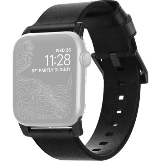 Ремешок Nomad Modern Strap для Apple Watch 44mm/42mm. Материал кожа натуральная. Цвет ремешок черный, застежка черный.