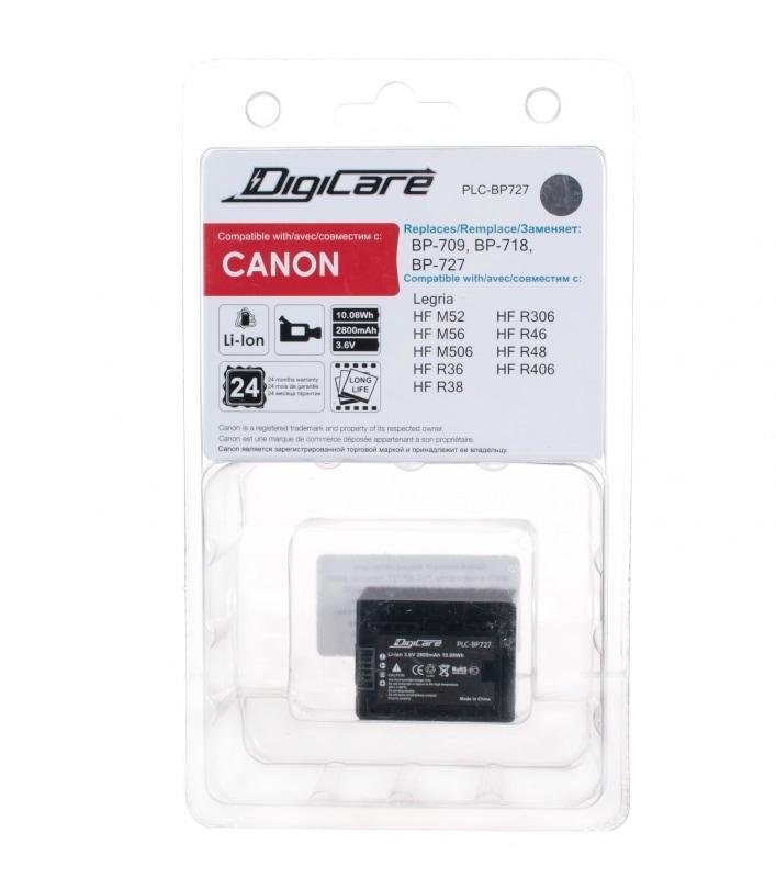 Аккумулятор DigiCare PLC-BP727 / BP-727 для камер Legria M52, 56, 506, R36, 38, 306, 46, 48, 406