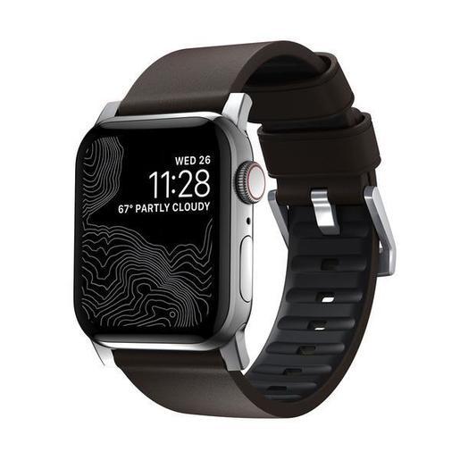 Ремешок Nomad Active Strap Pro для Apple Watch 44/42mm. Материал: внешняя сторона из натуральной кожи, внутренняя сторона из фторэластомера. Цвет ремешка: коричневый. Цвет застежки: серебряный.