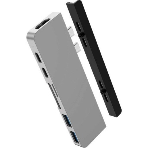 USB-хаб Hyper HyperDrive DUO 7-in-2 Hub для USB-C MacBook Pro/Air. Порты: HDMI (4k 60Hz), 2 x USB-A, Micro SD, SD, 1x USB-C PD 100W, 1x USB-C PD 60W. Цвет серебряный.