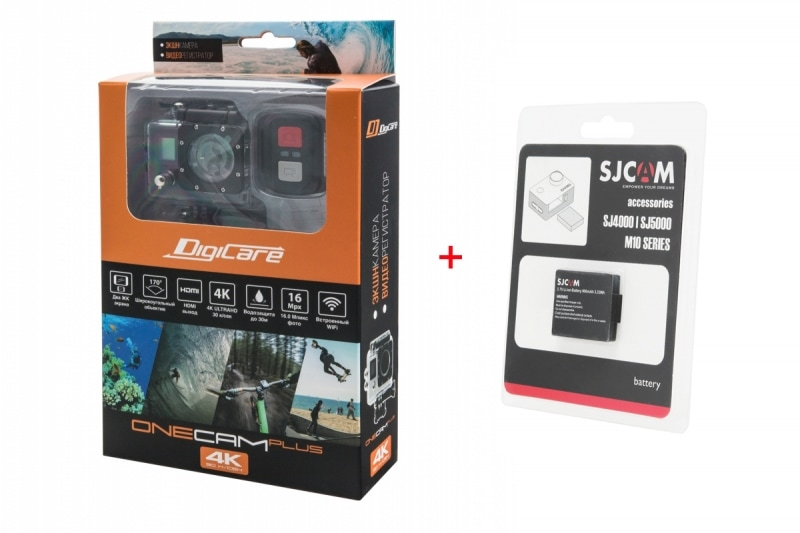 Комплект Экшн камера Digicare OneCam Plus и запасной аккумулятор SJ4000